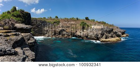 dream coastline at Bali near Manta Point famous Diving place Nusa Penida with blue sky poster