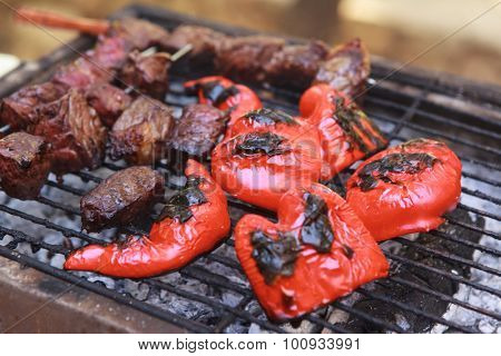 fresh raw beef fillet steak red meat brisket on skewers with grilled pepper barbecue brazier grid full burned charcoal selective focus