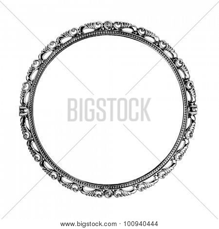 Antique silver mirror isolated on white background
