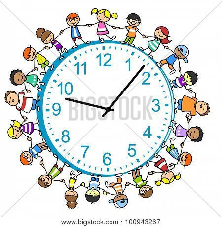 Many children holding hands around a big clock