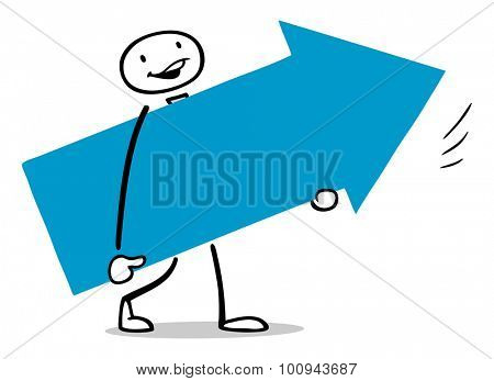 Business man carrying big arrow as symbol for growth and success