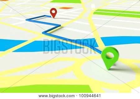 Navigation with GPS through city map with start and end marker (3D Rendering)