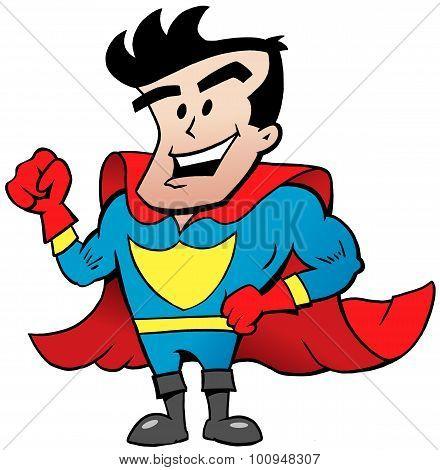 Vector Cartoon Illustration Of An Strong Happy Super Hero