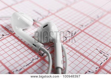 Earphones on cardiogram background poster
