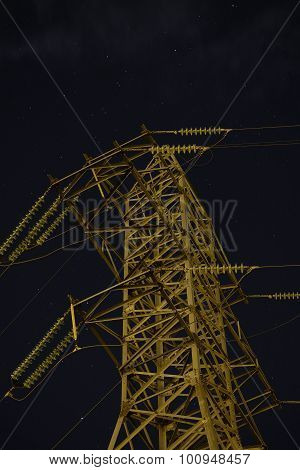 Unlighted Reliance power lines in the darkness