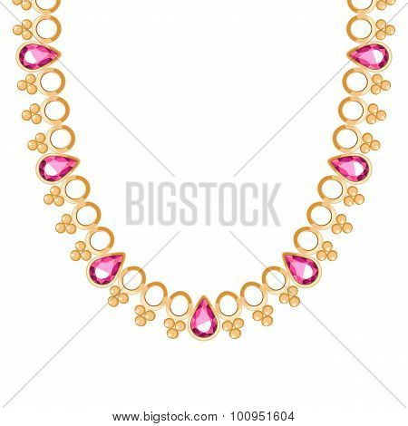 Chunky golden chain with rubies gemstones necklace or bracelet. Personal fashion accessory design ethnic indian style. poster