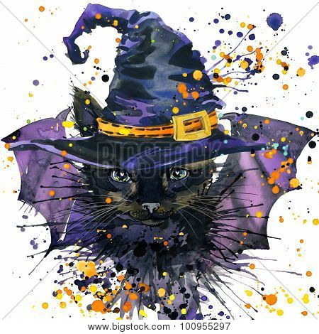 Halloween cat and witch hat. Watercolor illustration background