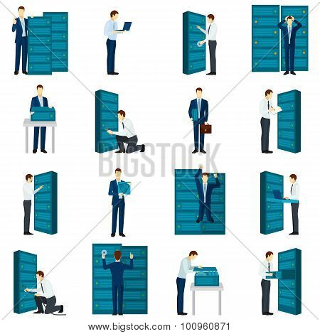 Flat datacenter icons set with servers and engineers figures isolated vector illustration poster