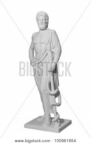 White Marble Classic Statue Of Asclepius