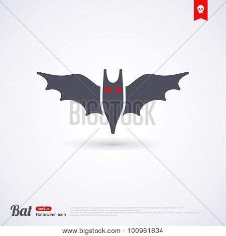 Silhouette of bat.  Halloween Icon or Symbol.
