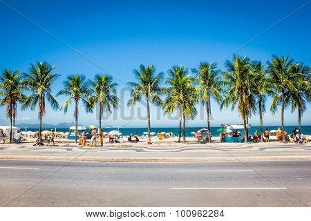 RIO DE JANEIRO, BRAZIL - APRIL 24, 2015: Palms of Copacabana Beach on April 24, 2015. in Rio de Janeiro , Brazia.