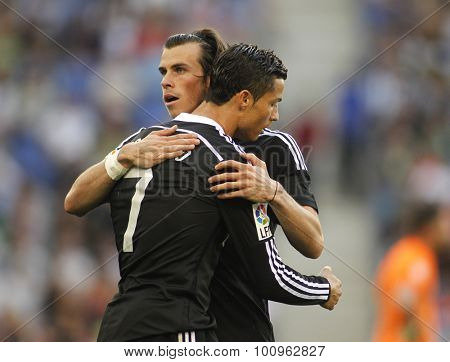 BARCELONA - MAY, 2015: Cristiano Ronaldo and Gareth Bale of Real Madrid during a Spanish League match against RCD Espanyol at the Power8 stadium on Maig 17 2015 in Barcelona Spain