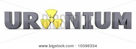 shiny black word URANIUM - a shiny yellow nuclear sign is replacing the letter A poster