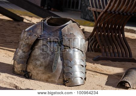 Armour of the medieval knight. Metal protection of the soldier against the weapon of the opponent poster