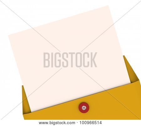 Opening an envelope and pulling out a letter with blank space for your words, text or top secret message
