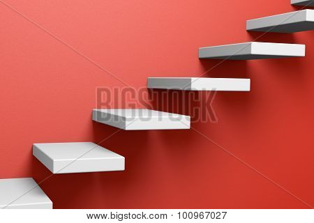 Ascending Stairs On The Red Wall