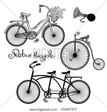 Retro Bicycles Set