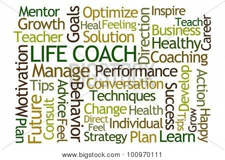 Life Coach Word Cloud on White Background