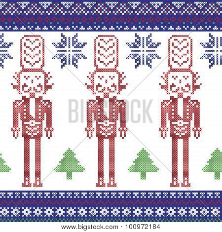 Red , dark blue , and green Nordic Christmas  pattern with nutcracker soldier , Xmas trees , snowfla