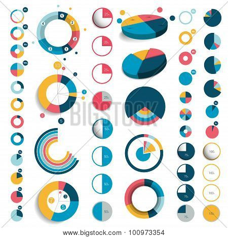 Mega Set Of 3D, Plastic And Flat Circle Charts.