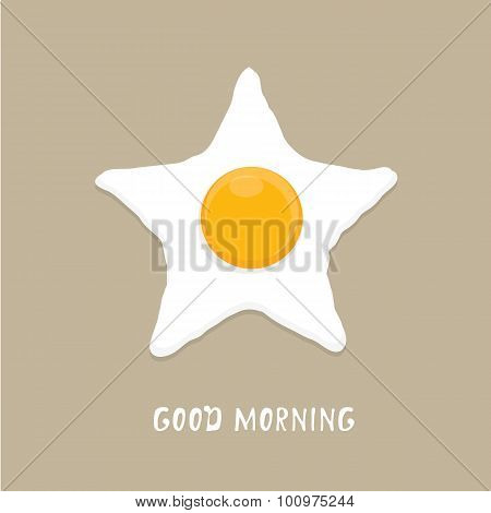 Fried Egg vector illustration. good morning concept.  breakfast fried hen or chicken egg with a orange yolk in the centre of the fried egg. poster