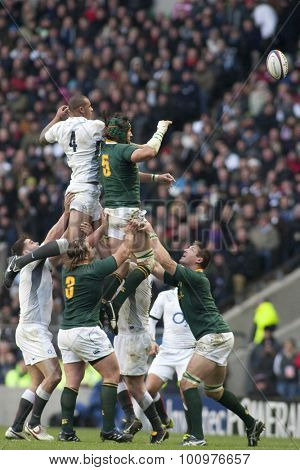 TWICKENHAM LONDON, 27 NOVEMBER 2010. a lineout  during the Investec International match between England and South Africa at Twickenham Stadium Middlesex England.