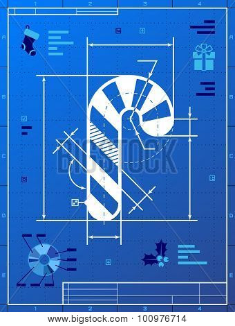 Christmas Candy Cane Symbol As Blueprint Drawing