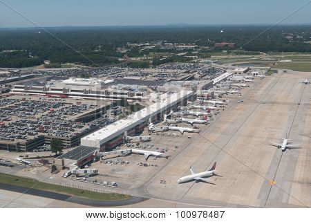 ATLANTA, GEORGIA-AUGUST 25, 2015: Aerial view of Hartsfield-Jackson Atlanta International Airport. The Atlanta airport serves 89 million passengers a year, it is the world's busiest airport.