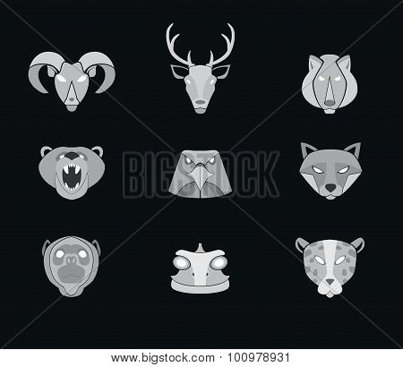 Predator animals icons. Vector format.