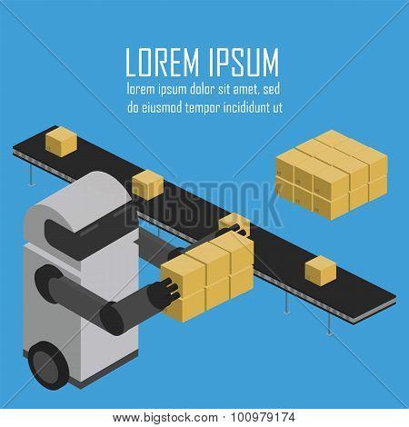 Warehousing process. Vector infographics.