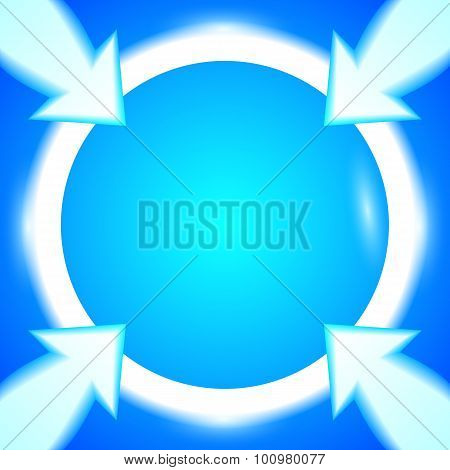 Round-frame-arrows-bright-blue-background