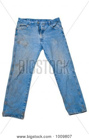Dirty Blue Jeans With Legs Spread