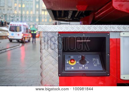 fire truck ladder control panel and ambulance car