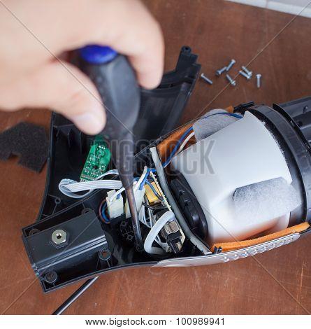 Vacuum Cleaner Disassembled For Repair Malfunctioning