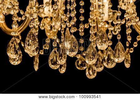 Gallant Chandelier With Light Candles And Dark Background