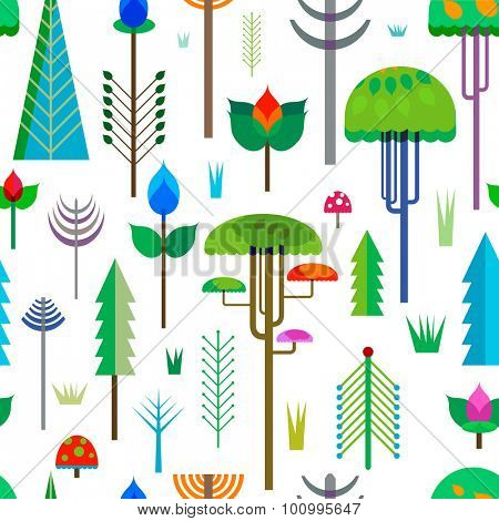 seamless pattern forest with colorful whimsy trees