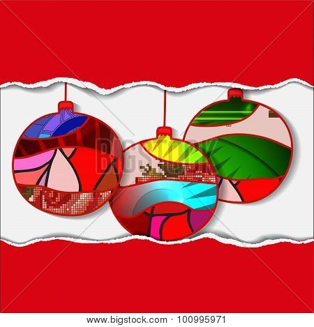 Stock Vector Christmas Decorative Isolated Boll With Torn Paper.patchwork Design