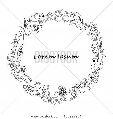Card. Poster, Brochure Template With Oriental Flower. Russia Or Slavs Design.