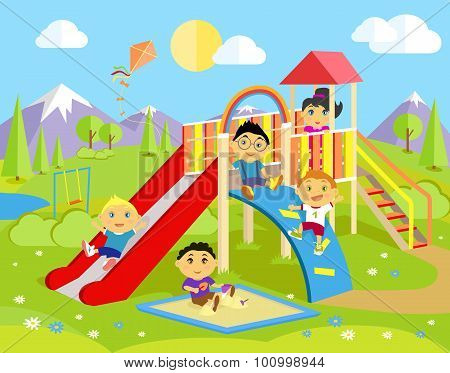 Playground with Slide and Children