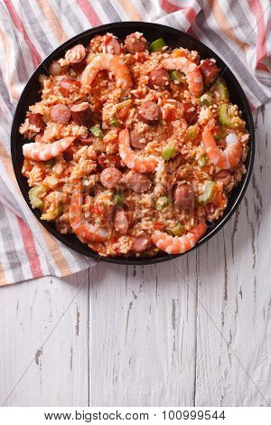 Delicious Creole Jambalaya With Shrimp And Sausage. Vertical Top View
