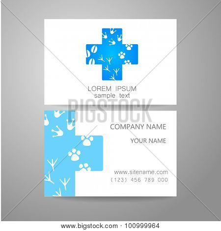 Veterinary - template logo. The idea of the logo for the veterinary service, pharmacy, hospital, center care, shelter animals. Branded business card. poster