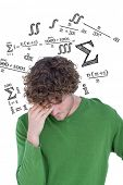 Thinking man against maths equation poster