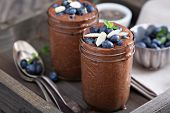 Healthy vegan chocolate chia pudding in jars poster