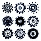 snowflakes for design artwork. elements for brushes ( for photoshop) isolated on white poster