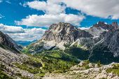 famous Italian  Dolomites alps, South Tyrol.  Auronzo. view on the Lagazuoi rock poster