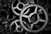 Grunge gear, cog wheels black and white background. Concept of industrial, science, clockwork, technology.  poster