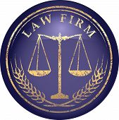 Justice scale icon with caption LAW FIRM in gold grunge style on a glossy shine blue background poster