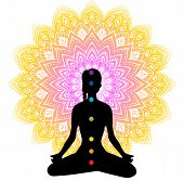Vector illustration of Color chakras with woman poster