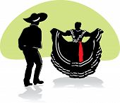 Vector illustration of a mexican couple performing a folk dance. poster