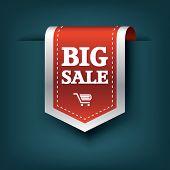 Big sale 3d vertical ribbon bookmark tag element for sales promotion. Eps10 vector illustration for websites or online shops. poster